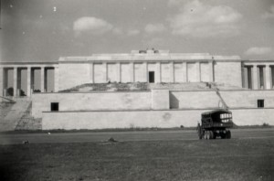 The 40th at Zeppelinfeld in Nurnberg,Germany - a month earlier, the 163rd Battalion Company had blown the huge swastika off the middle of this building